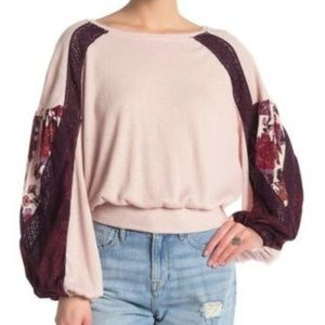 FREE PEOPLE Waffle long Sleeves Casual Clash Top